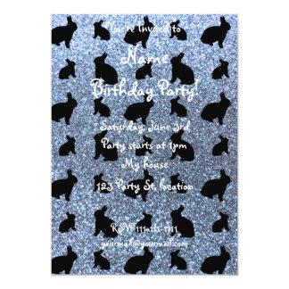 "Cute pastel blue bunny glitter pattern 5"" x 7"" invitation card"