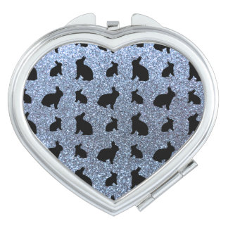 Cute pastel blue bunny glitter pattern travel mirrors
