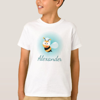 Cute Pastel Blue Green Sweet Bumble Bee Cartoon T-Shirt