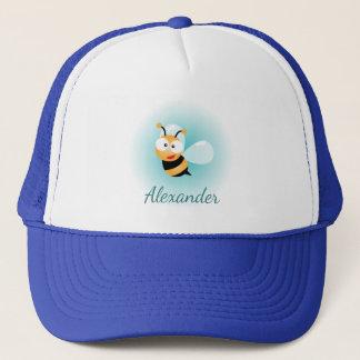 Cute Pastel Blue Green Sweet Bumble Bee Cartoon Trucker Hat