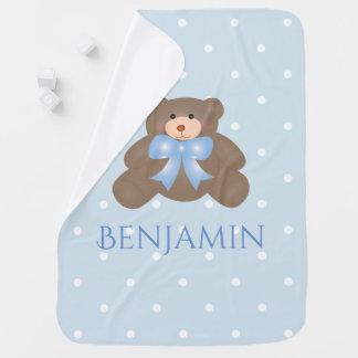 Cute Pastel Blue Ribbon Sweet Teddy Bear Baby Boy Buggy Blanket