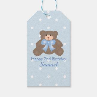 Cute Pastel Blue Ribbon Teddy Bear Boy Birthday Gift Tags