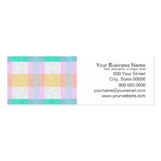 Cute Pastel Blue Yellow Teal Plaid Pattern Pack Of Skinny Business Cards