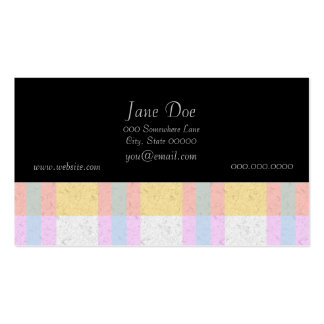 Cute Pastel Blue Yellow Teal Plaid Pattern Business Card