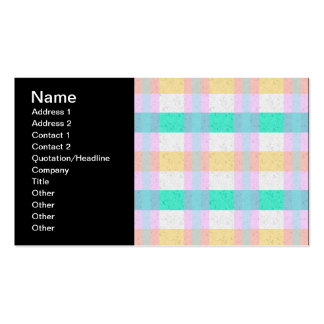 Cute Pastel Blue Yellow Teal Plaid Pattern Pack Of Standard Business Cards