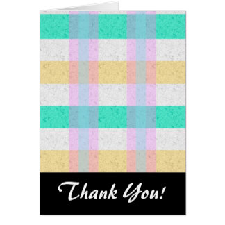 Cute Pastel Blue Yellow Teal Plaid Pattern Note Card