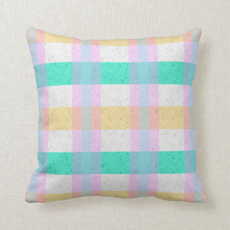 Cute Pastel Blue Yellow Teal Plaid Pattern Throw Pillow
