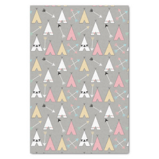 Cute Pastel Bohemian Teepees and Arrows Tissue Paper