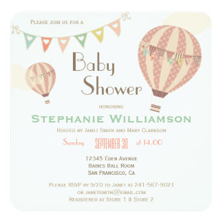Cute Pastel Bunting & Hot Air Balloons Baby Shower 13 Cm X 13 Cm Square Invitation Card
