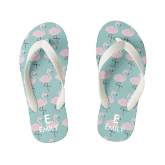 Cute Pastel Flamingo Initial Name Kids Flip Flops Thongs