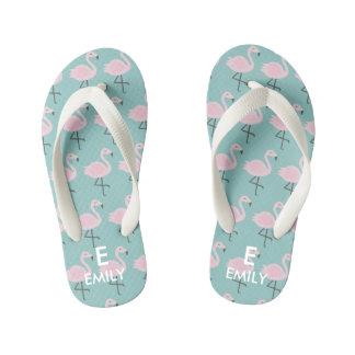 Cute Pastel Flamingo Initial Name Kids Flip Flops Thongs