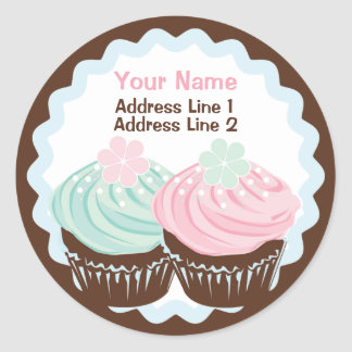 Cute Pastel Frosted Cupcake Address Label Sticker