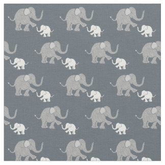 Cute Pastel Gray and White Baby Elephants Pattern Fabric