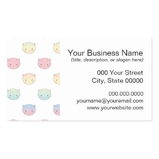Cute Pastel Kitty Cat Faces Pattern Pack Of Standard Business Cards