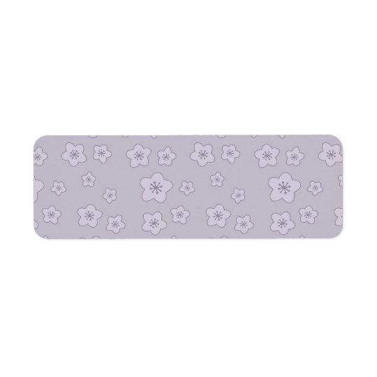 Cute Pastel Lavender Silver Cherry Blossom Pattern Return Address Label
