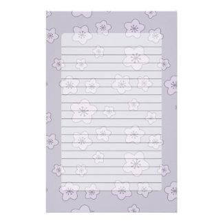 Cute Pastel Lavender Silver Cherry Blossom Pattern Stationery