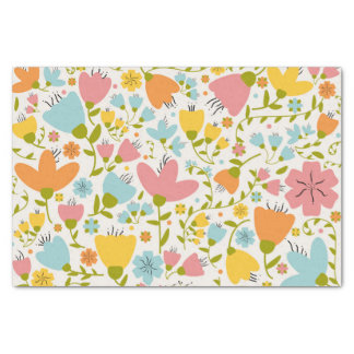 Cute Pastel Pink Blue Yellow Floral Tissue Paper