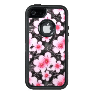 Cute Pastel Pink Hibiscus Floral Pattern On Black OtterBox Defender iPhone Case