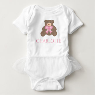 Cute Pastel Pink Ribbon Sweet Teddy Bear Baby Girl Baby Bodysuit