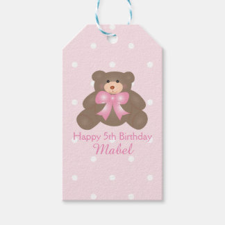 Cute Pastel Pink Ribbon Teddy Bear Girl Birthday Gift Tags