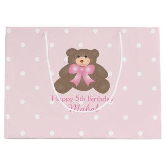 Cute Pastel Pink Ribbon Teddy Bear Girl Birthday Large Gift Bag