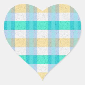 Cute Pastel Plaid Pattern Heart Sticker