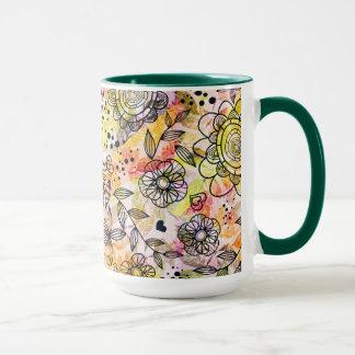 Cute Pastel Tones Floral Design Doodle Style Mug