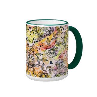 Cute Pastel Tones Floral Design Doodle Style Coffee Mugs