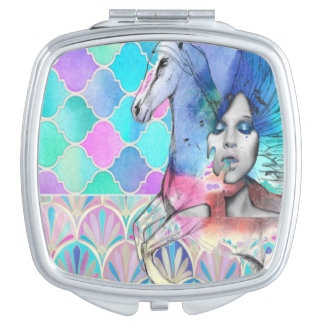 Cute Pastel Unicorn pink blue compact mirror