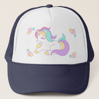 Cute Pastel Unicorn & Stars Navy Blue Trucker Hat