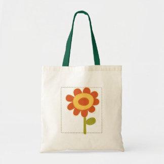 Cute patchwork flower illustration budget tote bag