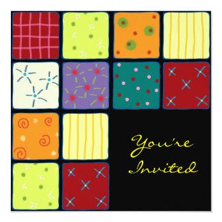 Cute Patchwork Pattern Birthday Invitation Card