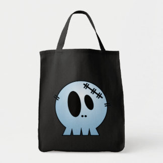 CUTE PATCHY SKULL - BLUE CANVAS BAGS