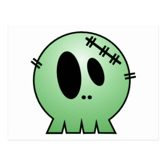 CUTE PATCHY SKULL - GREEN POSTCARDS