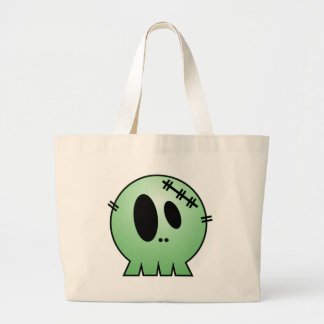 CUTE PATCHY SKULL - GREEN CANVAS BAG