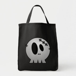 CUTE PATCHY SKULL - GREY BW TOTE BAG