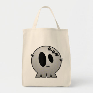 CUTE PATCHY SKULL - GREY BW TOTE BAGS