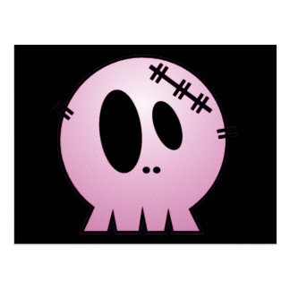 CUTE PATCHY SKULL - PINK POSTCARD