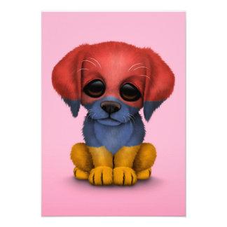 Cute Patriotic Armenian Flag Puppy Dog Pink Personalized Invitation