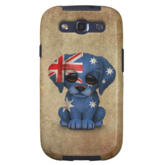 Cute Patriotic Australian Flag Puppy Dog, Rough Galaxy S3 Cases