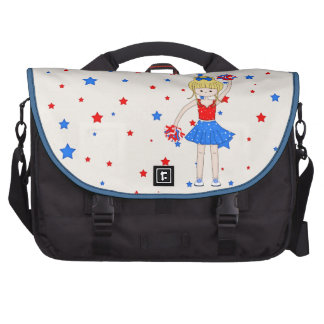 Cute Patriotic Blonde Cheerleader Girl Cartoon Bags For Laptop