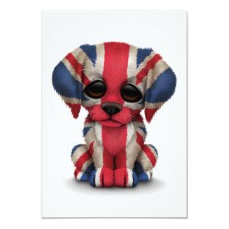 Cute Patriotic British Flag Puppy Dog, White 9 Cm X 13 Cm Invitation Card