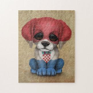 Cute Patriotic Croatian Flag Puppy Dog, Rough Puzzle