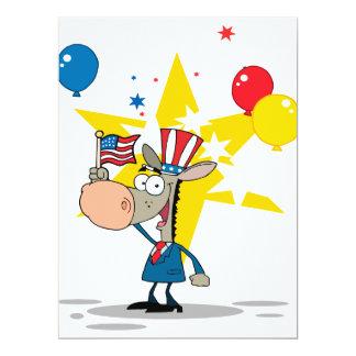 cute patriotic democratic donkey silly cartoon 17 cm x 22 cm invitation card