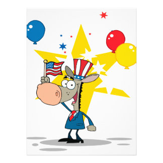 cute patriotic democratic donkey silly cartoon announcements