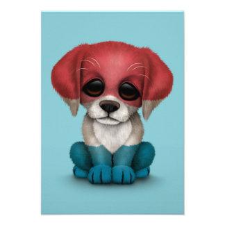 Cute Patriotic Dutch Flag Puppy Dog, Blue Custom Announcement