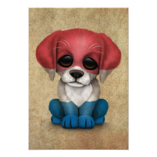 Cute Patriotic Dutch Flag Puppy Dog Rough Invitations