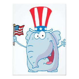 cute patriotic elephant cartoon republican 17 cm x 22 cm invitation card