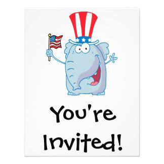 cute patriotic elephant cartoon republican custom invites