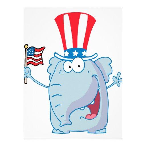 cute patriotic elephant cartoon republican invite